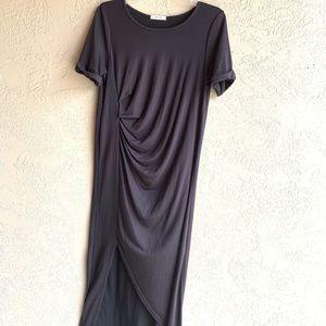 Mod Ref Dresses - Mod ref : ruched asymmetrical black dress-242